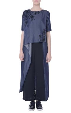 Navy blue draped blouse