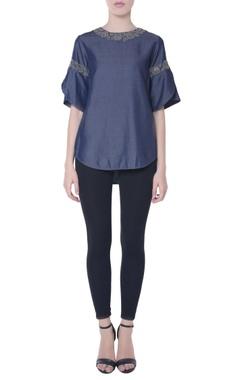 Navy blue chambray denim blouse