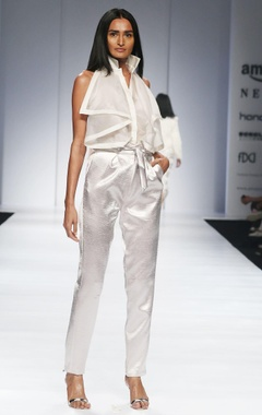 White & silver satin jumpsuit
