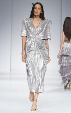 Metallic silver midi dress