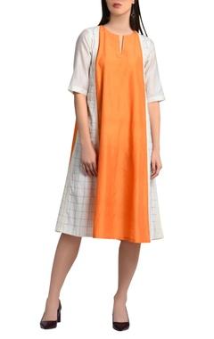 White & orange a-line dress