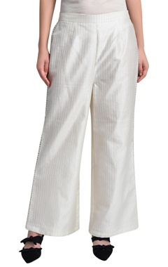 White wide legged trousers
