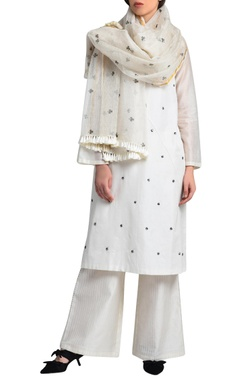 white printed hand-woven stole