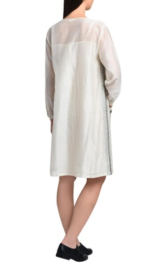 White shirt dress with kantha embroidery