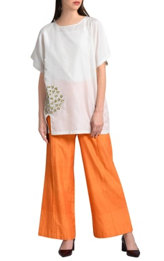 Orange wide legged trousers