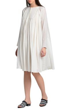 white gathered yoke dress