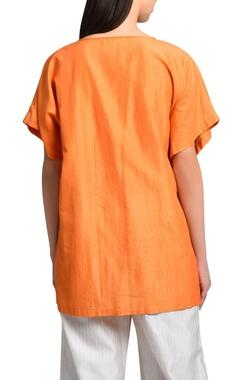 orange kimono hand embroidered blouse