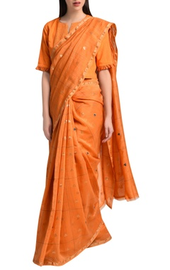 Orange sari in kantha embroidery