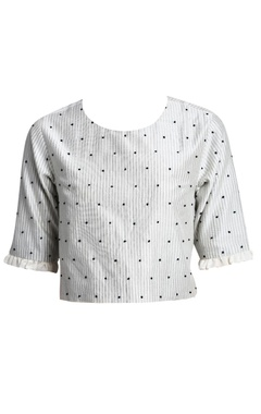 white printed chanderi silk blouse