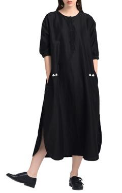 Black drop waist long kurta