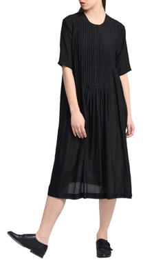 black pleated style dress