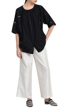 black kimono silk blouse