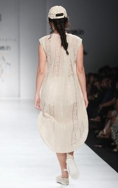 White organza shift dress