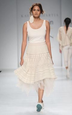 White organza midi skirt