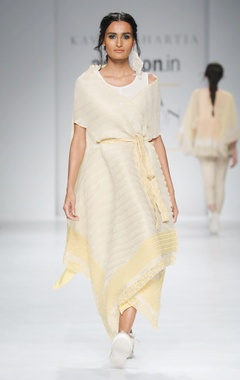 white & yellow embroidered cape