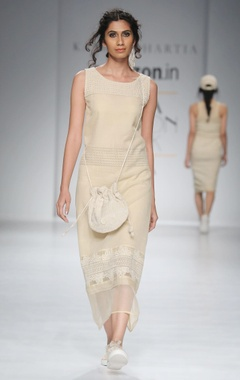 Beige thread embroidered shift dress