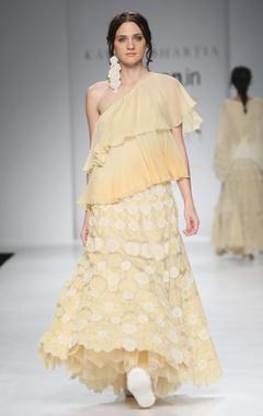 Yellow & orange off-shoulder top & skirt