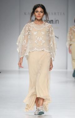 Gold chiffon dress & white cape