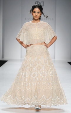 Beige embroidered cape & lehenga skirt