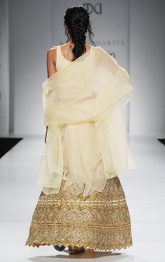 Light yellow embroidered lehenga