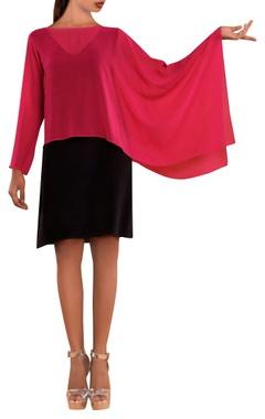 Pink satin draped layer dress