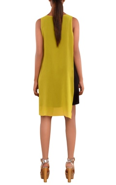 Black & yellow v-neck dress