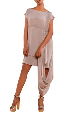 Beige dress with attached drape