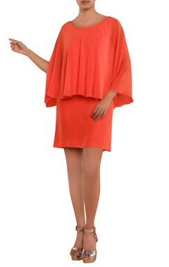 Orange party dress with deep back