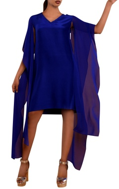 Blue dress with cutout draped sleeves