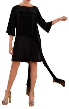 Black dress with draped panel
