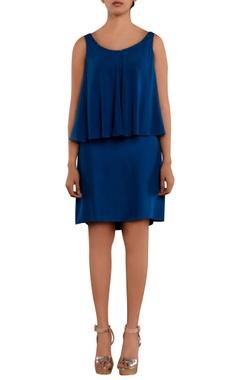 Blue overlap sleeveless dress