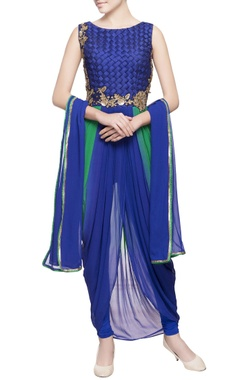 blue & green embroidered dhoti kurta