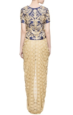 beige & blue blouse with dhoti skirt