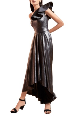 metallic grey & black one shoulder gown
