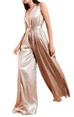 Grey shimmer satin jumpsuit