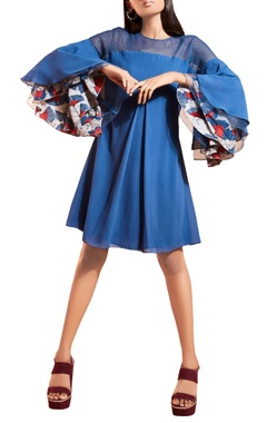 Blue dress with flouncy sleeves