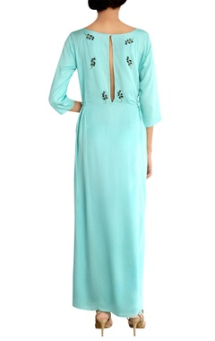 mint blue embroidered maxi dress