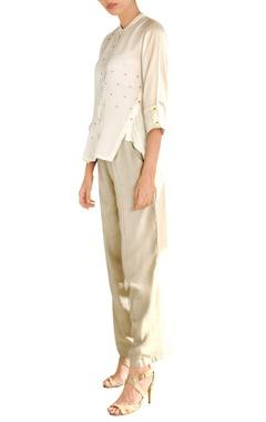 Pallavi Kandoi White satin asymmetric shirt