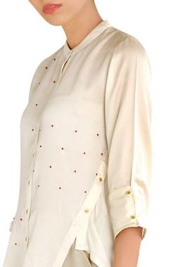 White satin asymmetric shirt