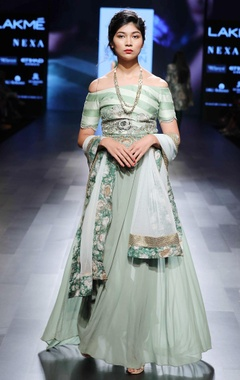 Green off-shoulder embellished anarkali set
