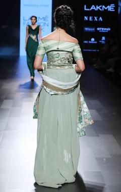 Green off-shoulder embellished anarkali