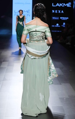 green off-shoulder embellished anarkali