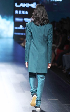 Teal blue matka silk jacket