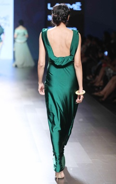green cowl style gown