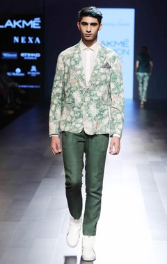 Narendra Kumar - Men Green floral silk jacket