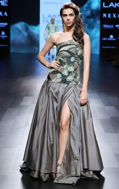 grey tafetta silk embroidered gown