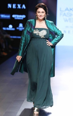 Green tube gown & silk jacket