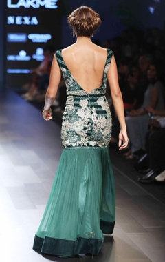 green hand embroidered gown