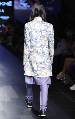 Purple floral sherwani jacket