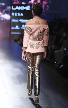 Rose pink embroidered jacket